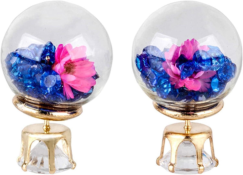 NEISHUI Glass Ball Rhinestone Dried Flowers Earrings Personalized Double-Sided Ball Earrings for Women Charm Jewelry