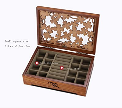LIU RUOXI Girls Jewelry Box Wooden Flower Carving Multi-Function Storage Box Holiday Gift White