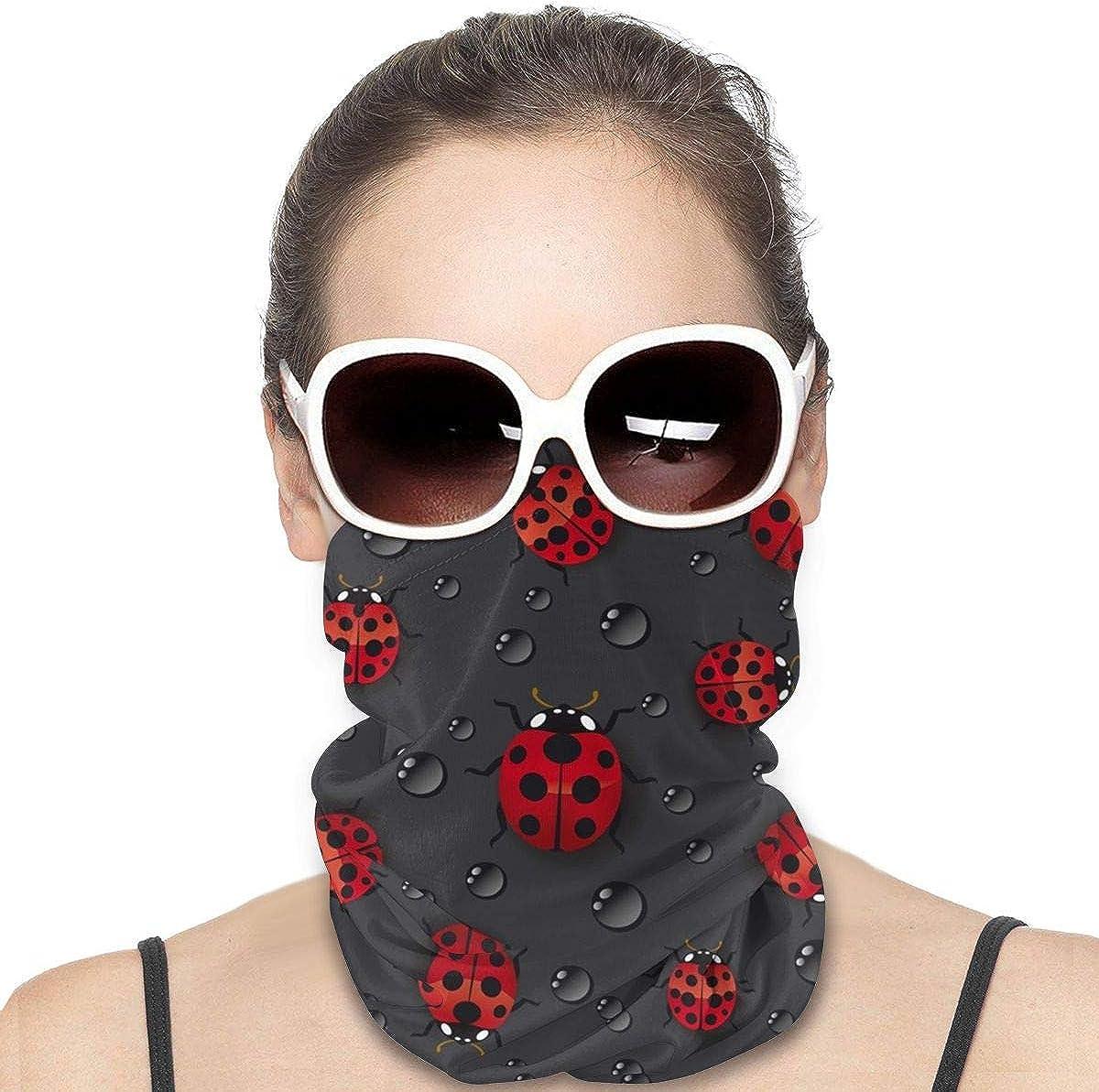 KiuLoam Women Bandanas Face Mask, Ladybug Raindrop Neck Gaiter Mask Headband for Men Face Scarf Dust, Outdoors, Sports