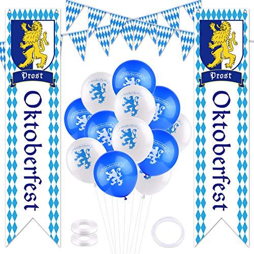TUPARKA Oktoberfest Deko Set Bayrische Dekoration 2 x Banner 20m Wimpel Girlande 20 Luftballons, Oktoberfest Dekoration Party Bierzelten Dekoration