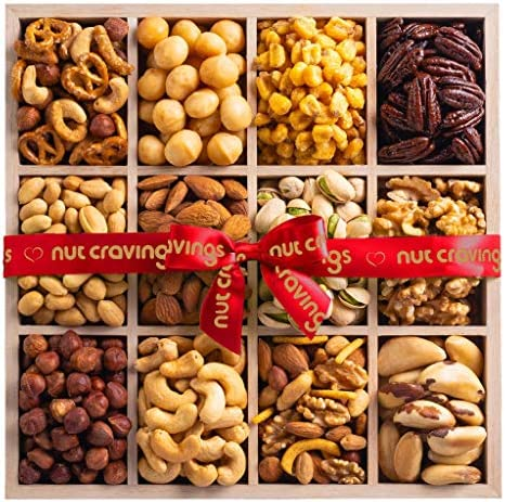 Gourmet Nut Gift Basket Wood Tray Red Ribbbon 12 Mix Easter Food Arrangement Platter Care Package product image