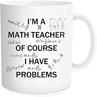 Waldeal I'm A Math Teacher of Course I Have Problems Coffee Mug, Best Gift for Science Math Lover, White Fine Bone Ceramic...