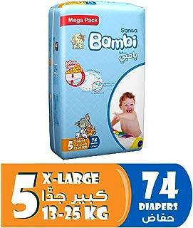 Sanita Bambi Baby Diapers Mega Pack Size 5, X-Large, 13-25 KG, 74 Count