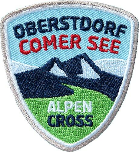 2 x Alpencross Oberstdorf - Comer See / MTB Abzeichen 55 x 60 mm gestickt / Transalp Alpenüberquerung Mountainbike / Aufnäher Aufbügler Sticker Patch / Comer-See Allgäu Radtour Radführer Radkarte