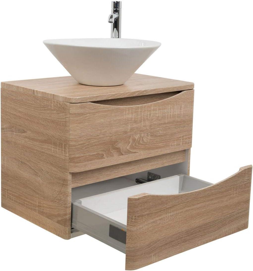 600 Vanity Cabinet Light Oak Bathroom Deck Mounted Basin Round Osaka Amazon De Diy Tools