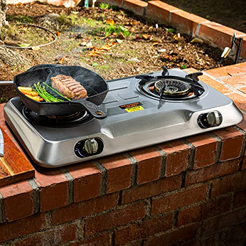 XtremepowerUS Deluxe Propane Gas Range Stove 2 Burner Stainless Steel Cooktop Auto Ignition Camping Double Burner High Pressure