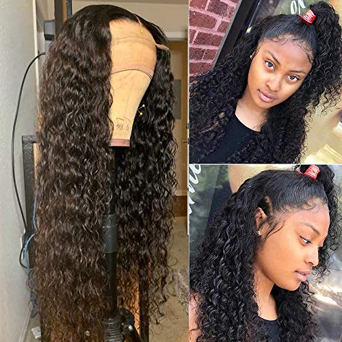 Fureya Glueless Lace Front Wigs for Women Long Curl Wave Wigs Heat Resistant Fiber with Baby Hair Synthetic 24 inch Black Lace Wigs