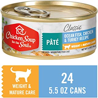 Chicken Soup for The Soul Weight & Mature Care Cat Food, Ocean Fish, Chicken & Turkey Pate, 5.5 oz. Cans (Case of 24)   Soy Free, Corn Free, Wheat Free   Wet Cat Food Made with Real Ingredients
