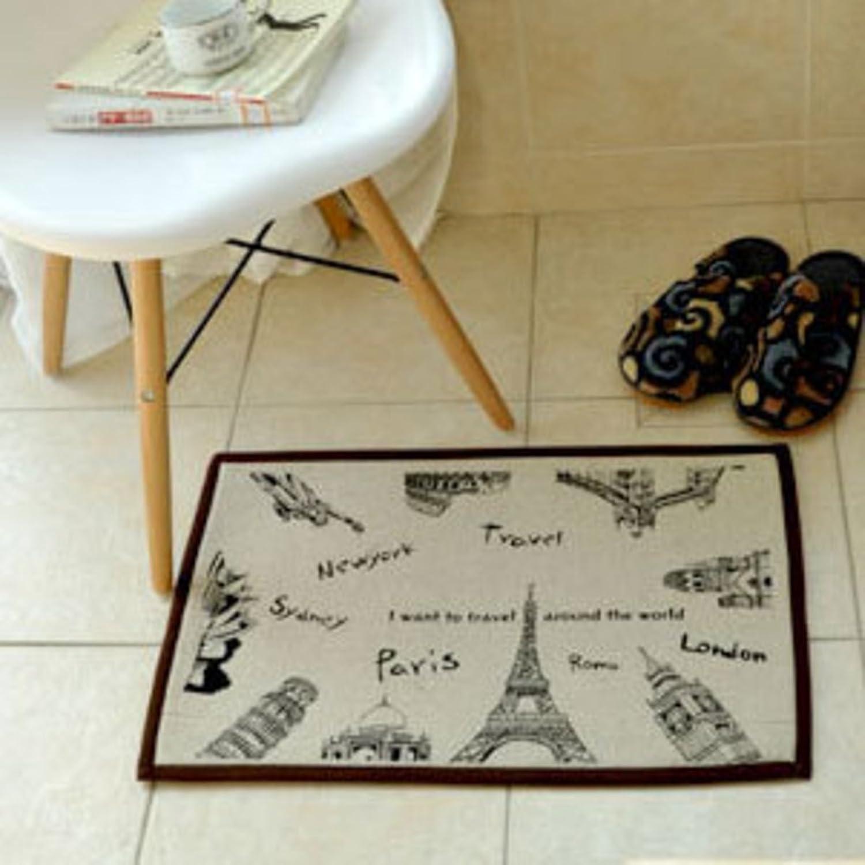 European Fabrics Cotton Indoor mats Bathroom Water-Absorbing Anti-skidding mat-A 40x60cm(16x24inch)