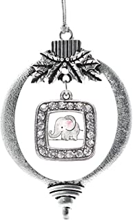 Inspired Silver - Baby Elephant Charm Ornament - Silver Square Charm Holiday Ornaments with Cubic Zirconia Jewelry