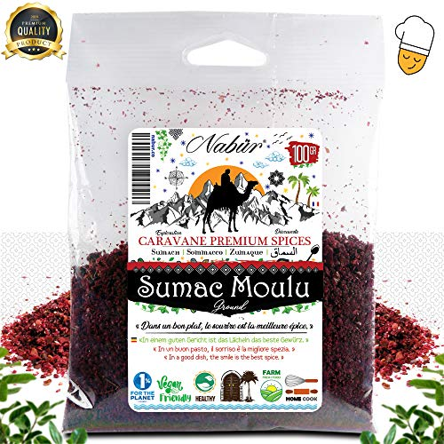 ⭐ Sommacco 100 Gr ⭐ NABÜR GOURMET ⭐ In Polvere, Fruttato, Gustoso - Una spezia fresca e profumata, perfetta per i tuoi preparativi e condimenti (100)