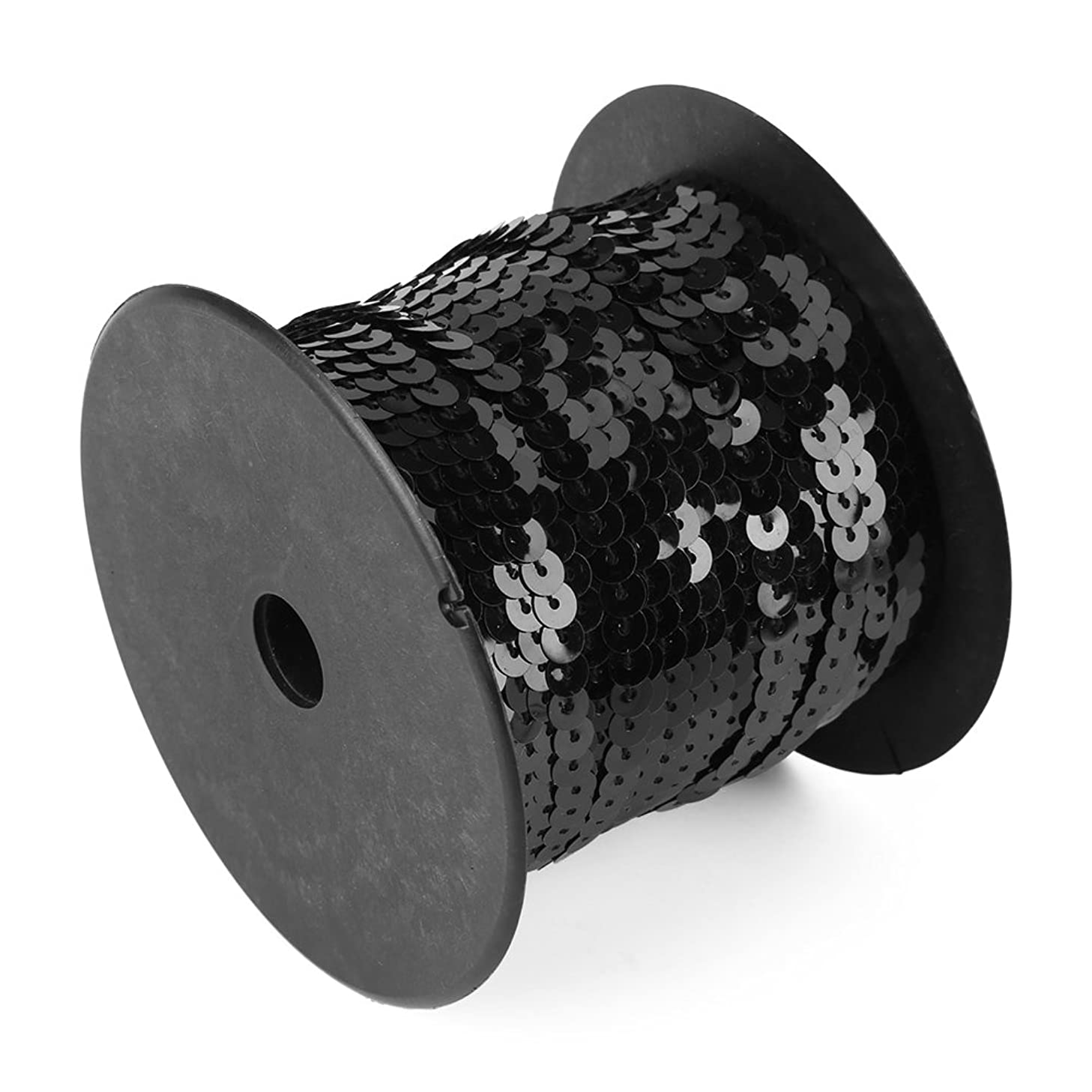 Spangle Flat Sequins, 6mm Sequins 100 Yards Shiny Trim Sewing Strings Colorful Round Sequins Paillette Fabric Ribbon DIY Decoration(Black)