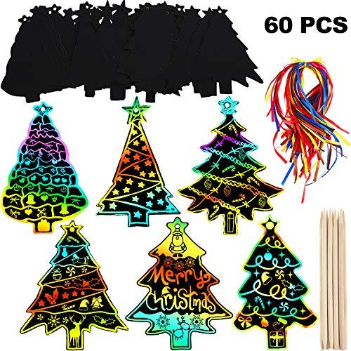 60 Piezas de Papel de Rascar de Árbol Navidad Adornos Colgantes de Navidad Etiquetas de Regalo DIY con 60 Piezas Cintas y 10 Piezas de Lápices de Madera para Manualidad de Navidad Decoración de Arte