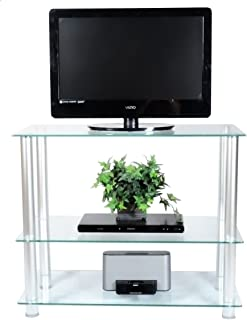 RTA Home and Office Extra Tall Glass and Aluminum LCD and Plasma TV Stand for a 35