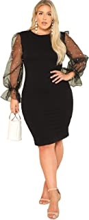 Women's Plus Size Elegant Mesh Contrast Pearl Beading Sleeve Stretchy Bodycon Pencil Dress