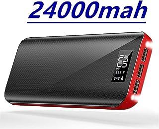 モバイルバッテリー 24000mAh 大容量 充電バッテリー iphone 充電器 携帯バッテリー LCD残量表示 LEDライト付き 三台同時充電 スマホ 急速充電 出力(1A+2.1A+2.1A)と入力(5A/2.1A)搭載 iPhone/iPad/Android Galaxy Xperia 各種機種対応 海外旅行 出張 地震防災