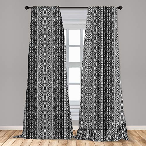 """Ambesonne Retro Curtains, Boho Pattern in Black and White with Western Native Effects Folk Design, Window Treatments 2 Panel Set for Living Room Bedroom Decor, 56"""" x 63"""", Grey Black"""