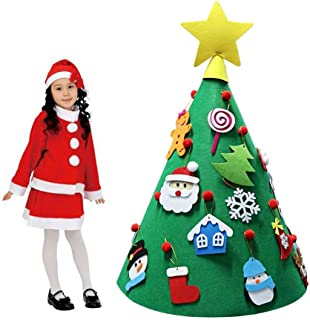 CCSLFF 3D Felt DIY Tree Felt Toy Children's Felt Children's Educational Toys, 3D DIY Christmas Tree Child Friendly Christmas Tree Decoration Hanging Jewelry