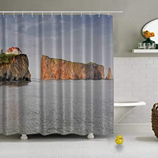 YOLIYANA Perce Rock at Sunset Shower Curtain Teal Shower Curtain,Quebec,71''Long x 71''Wide