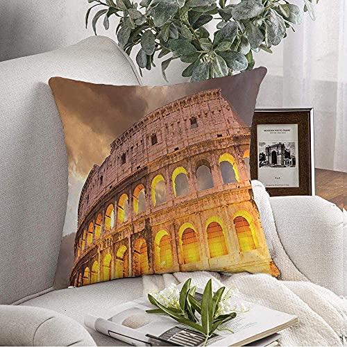 BONRI Fundas de Almohada Estuche Cozy Wonderful in Travel Roman View Sunset Colosseum All Magnificience Autumn Monumentos Varios Throw Pillow Cojín Funda para sofá Decoración del hogar, 16'x 16'