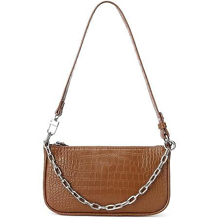 WESTBRONCO Damen Unterarmtasche im Retro-Stil, Damen Umhängetaschen aus Krokodilmuster Leder, Vintage Kleine Schultertasche Achseltasche