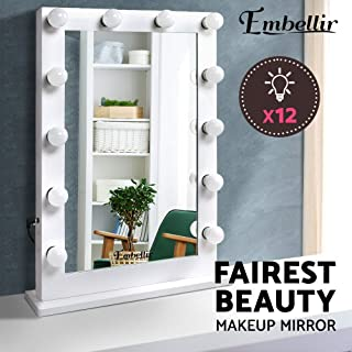 Embellir 65 x 80cm Light Up Makeup Mirror Beauty Stand Up Mirror 14 LED Lighted Mirror Hollywood Style Countertop Cosmetic Mirror for Dressing Table Desk Living Room