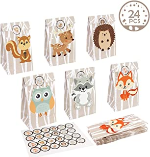 OurWarm 24pcs Woodland Party Favor Bags, 3D Animals Candy Treat Gift Bags with Thank You Stickers for Kids Woodland Animals Theme Baby Shower Birthday Party Decorations Supplies, 6 Styles