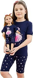Girls Matching Doll&Toddler Owl 4 Piece Short Cotton Pajamas Kids Clothes Sleepwear