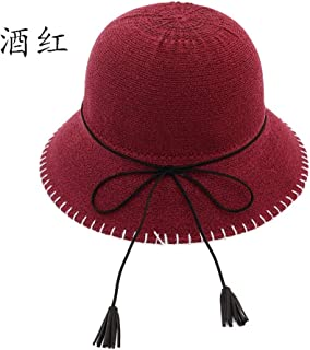 Lei Zhang Women's Sun Protection Cap Spring Summer Dome Fisherman Hat Casual Fringe Sun Hat Loop Yarn Breathable Outdoor Travel Cap (Color : Claret, Size : 56-58cm)