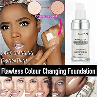 TLM Flawless Colour Changing Foundation, Self Adjusting Warm Skin Tone Foundation Nude Face Makeup Base Moisturizing Liquid Cover Concealer for Women Girls SPF15