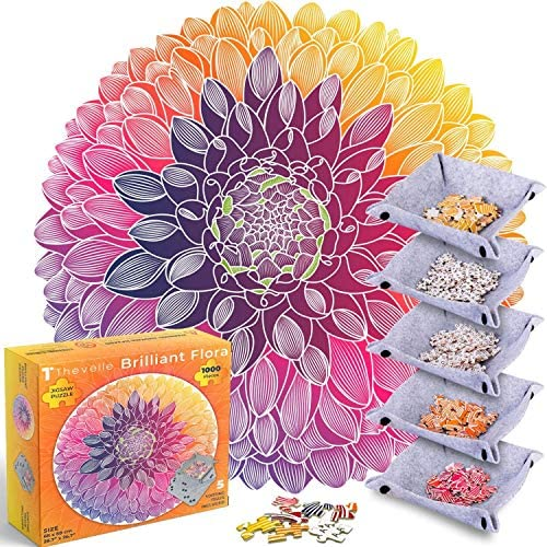 1000 Piece Jigsaw Puzzle Round Shaped Puzzle in Flower Pattern with Large Size Reference Poster product image