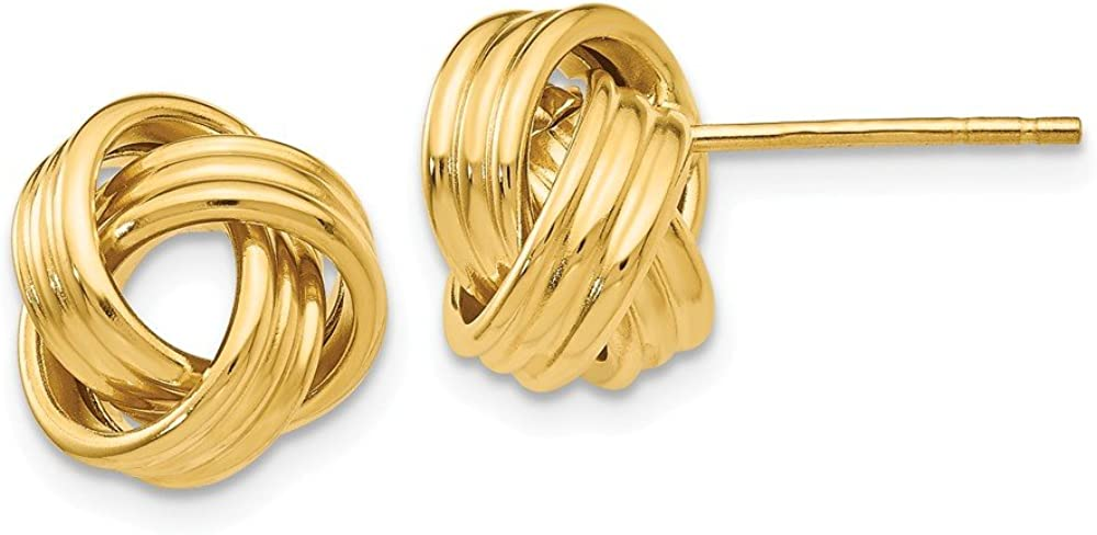 14k Yellow Gold Love Knot Post Stud Earrings Ball Button Fine Jewelry For Women Gifts For Her