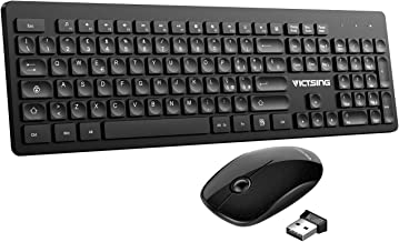 VicTsing Tastiera Wireless PC Italiana, Tastiera e Mouse Wireless PC Compatta, con 104 Tasti, Mouse Antiscivolo, per Windows 7/8/10/2000 / XP/Me / Vista, PS4, Mac OS