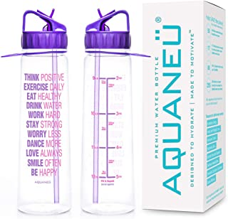AQUANEÜ 30oz Inspirational Fitness Workout Sports Water Bottle with Time Marker | Measurements | Goal Marked Times for Measuring Your H2O Intake, BPA Free Non-Toxic Tritan