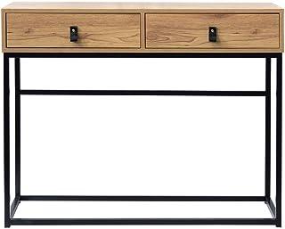 Console 2 tiroirs en Bois veiné
