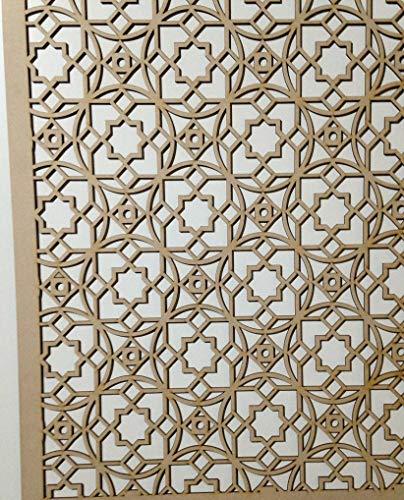 LaserKris Heizkörperschrank, dekoratives Sichtgitter, perforiertes MDF-Platte im marokkanischen Stil, 1,2m x 0,62 m, M4