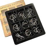 MIFO 知恵の輪9点セット 難易度 メタル製 知育玩具 暇つぶし 大人も子供も 教育 勉強 楽しい 夢中 謎解き パズルリングセット(上級レベル)