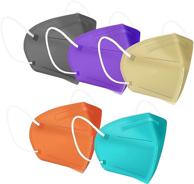 Vitnette Face Mask 20 PCs Multiple Colour 5 Layers Cup Dust Masks with Adjustable Nose Bridge Clip for Men Women