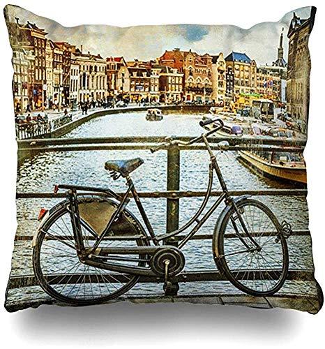 Funda De Almohada Viajes Tradicionales Canales Y Bicicletas Holandesas Pintura Antigua Vintage Amstel Amsterdam Bisycle Hostal Acogedor Hospital Sofá Lindo Fundas De Cojines Fundas De Almohadas