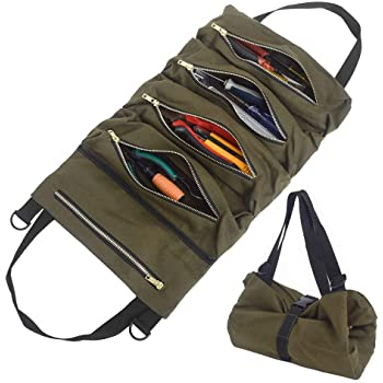 Eimer Gro/ße Multi-Taschen Werkzeugrolle Schraubenschl/üssel Rollentasche Roll Up Tools Bag Werkzeug-Organizer Car Super Tool Zipper Bag Multi-Purpose Tool Roll Up Bag Green