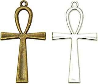 Pomeat 30 Pieces Antique Silver & Bronze Ankh Egyptian Cross Charms Pendant Religious Large Cross Charms DIY Jewelry Making Finding for Bracelet and Necklace