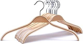 JS HANGER Durable Wooden Clothes Hangers Natural Finish with Soft Non-Slip Stripes - 10 Pack