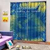 WAFJJ 2 Piezas Opaca Cortina Cielo Azul y Estrellado 3D Estampado Simple Cortinas Opacas con Ollaos para niños Hogar Salon Dormitorio Moderno Juveniles