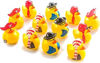 Kicko Mini Pirate Rubber Duckies for Party Favors and Bath Time - 2 Inches, 12 Pack