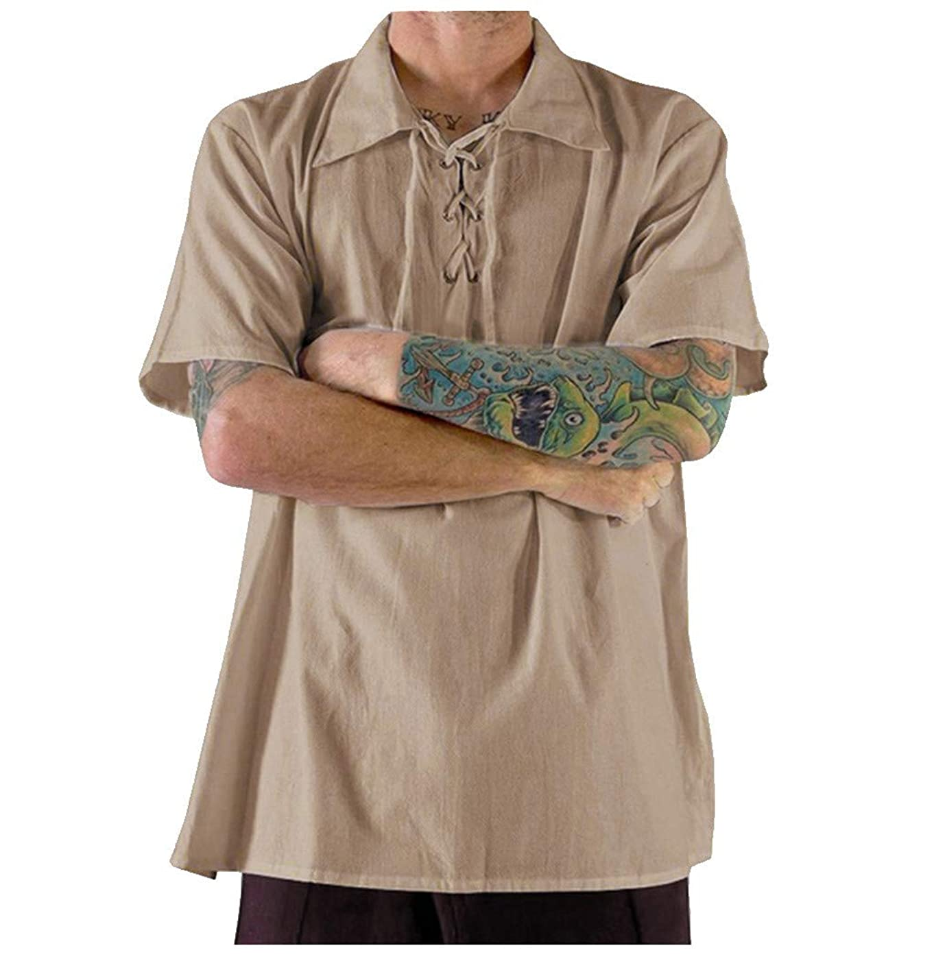 Nuewofally Men Linen Henley Shirts Casual Standard Fit Short Sleeve Basic Summer Beach Tie Shirts Yoga Top Blouse Tee (Khaki,3XL)