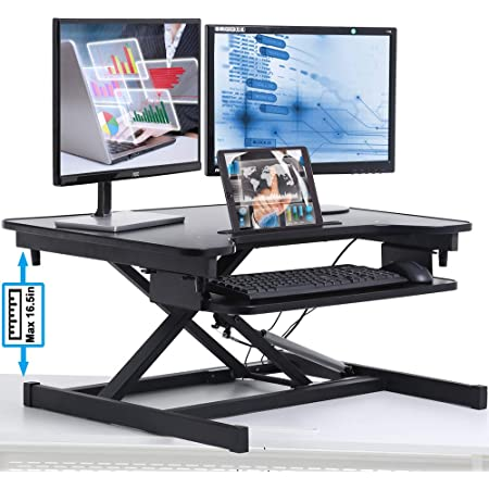 AVLT-Power 32 Classic Standing Desk Converter 3 Year Warranty Fits Ultrawide 34 Monitor Black Height Adjustable Sit Stand Desk Large Tabletop with Tablet Holder and Removable Keyboard Tray