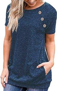 GAGA Womens Summer Plain Round Neck Short Sleeve Casual Blouse T Shirt Tops
