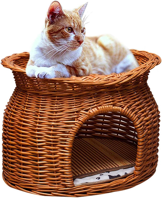 FPigSHS Kennel Cat nest pet bed Pet house Cat house Bird house Pet supplies Washable Rattan Four seasons universal (color   A, Size   52  38  42CM)