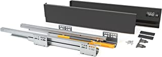 EMUCA - Ladenset voor keuken of badkamer, met uittrekbare rails en zachte sluiting, hoogte 105 mm en diepte 500 mm, antrac...