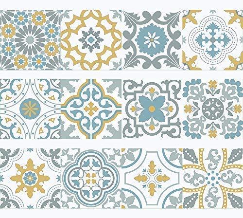 Franja de Vinilo decorativo autoadhesivo removible para pared de fácil aplicación para baño, cocina y decoración Amalia. Set de 15 unidades. 3 metros lineales.